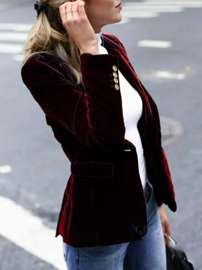 Burgundy Patchwork Buttons Bodycon Comfy Long Sleeve Going out Suit