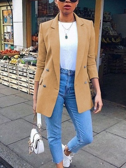 Khaki Patchwork Buttons Pockets Comfy Long Sleeve Turndown Collar Fashion Suit