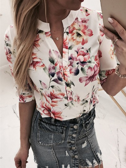 Light Pink White Flowers Print Buttons V-neck Half Sleeve Fashion Blouse
