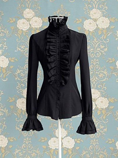 Black Cascading Ruffle Flare Sleeve Victorian Women OL Office T-Shirt High Neck Blouse
