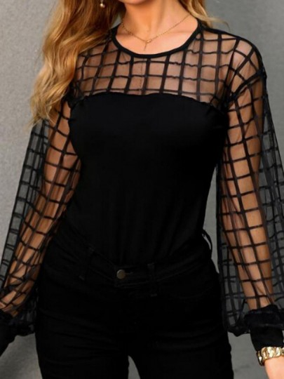 Blacke Lace Going out Fashion Comfy Long Sleeve Blouse