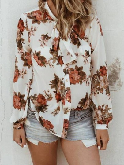 White Floral Print Single Breasted Bow Collar Long Sleeve Fashion Blouse