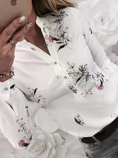 Chemisier à fleurs poitrine confortable et moulant blanc