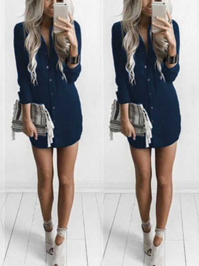 Blue Single Breasted Irregular Bodycon Ttrendy Going out Blouse