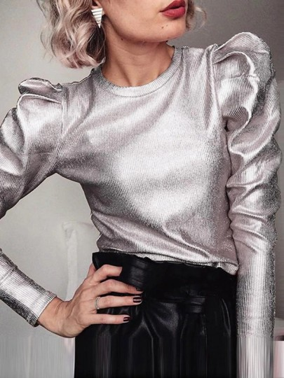 Metallic Silver Round Neck Long Sleeve Puff 70S Vintage Blouse