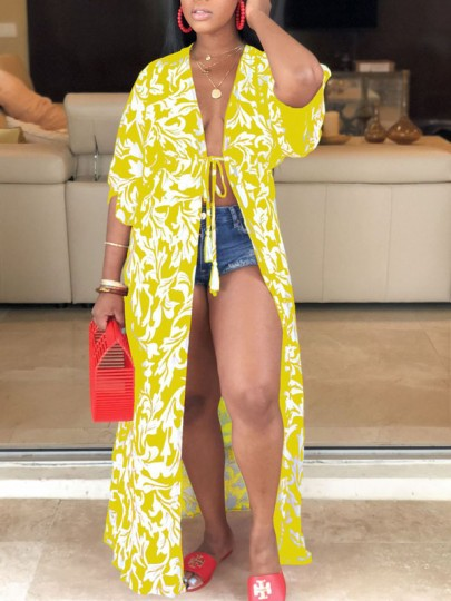 Yellow Floral Drawstring Chiffon Long Sleeve Bohemian Beachwear Outerwear