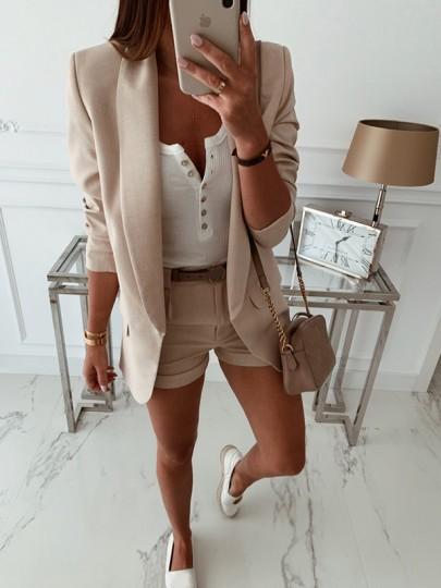 Khaki Plain Fashion Sweet Comfy V-neck Long Sleeve Blazer