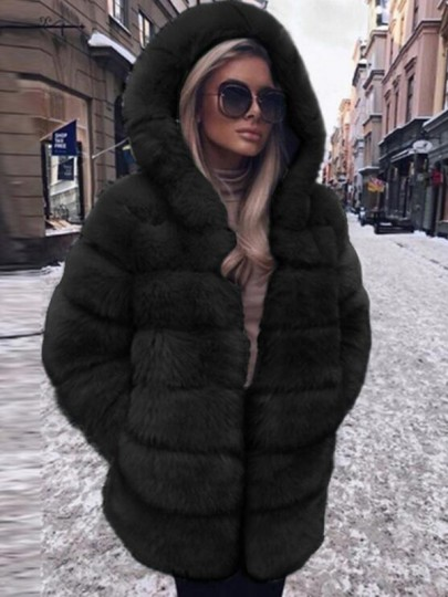 Black Faux Fur Pockets Hooded Bubble Hooded Cardigan Coat
