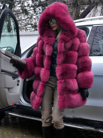 Rose Carmine Bubble Fuzzy Fatigue Fur Casual jacket Outerwear
