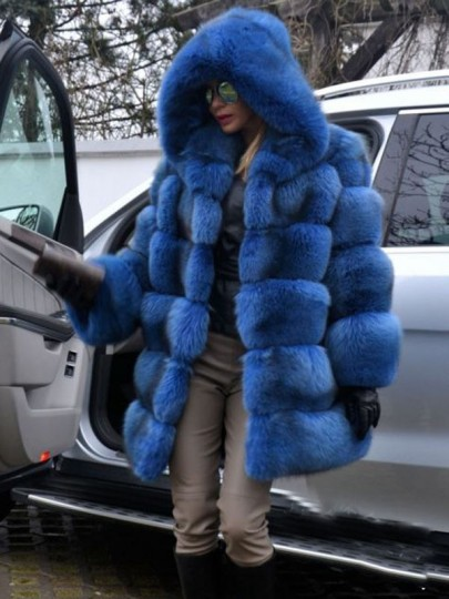 Blue Bubble Fuzzy Fatigue Fur Casual jacket Outerwear