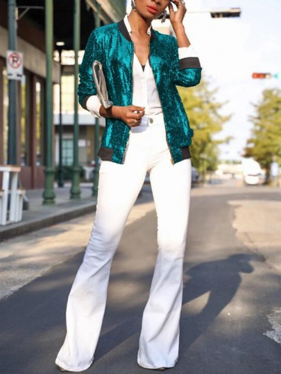 Green Patchwork Sequin Zipper Long Sleeve NYE Sparkly Party Jacket Coat