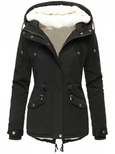 Black Plain Buttons New Fashion Latest Women Long Sleeve Hooded Fashion Outerwear