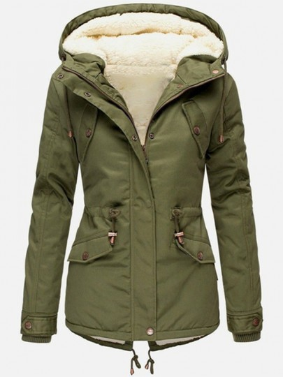 Army Green Plain Buttons New Fashion Latest Women Long Sleeve Hooded Fashion Outerwear