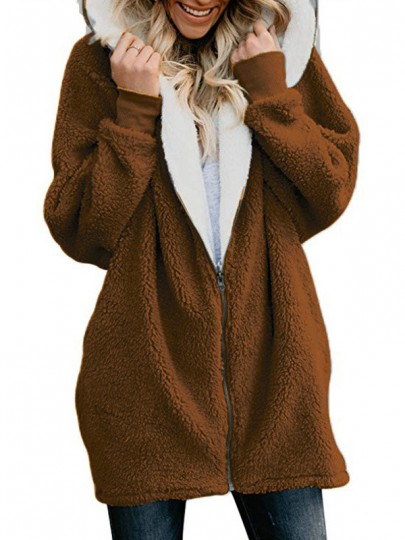 Brown Patchwork Zipper Others Long Sleeve Fashion Outerwears