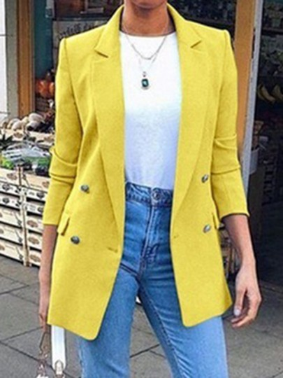 Yellow Double Breasted Pockets Turndown Collar Long Sleeve Fashion Blazer Coat