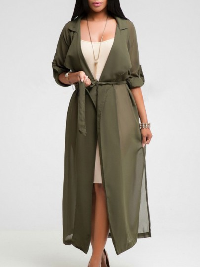 Army Green Sashes Tailored Collar Long Sleeve Fashion Cardigan Coat