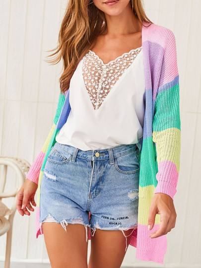 Cardigan color block rainbow carino casual new fashion ultime donne rosa