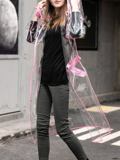 Pink Patchwork Transparent Buttons Multi-Functional Going Out Long Sleeve Hooded Raincoat Trench Coat