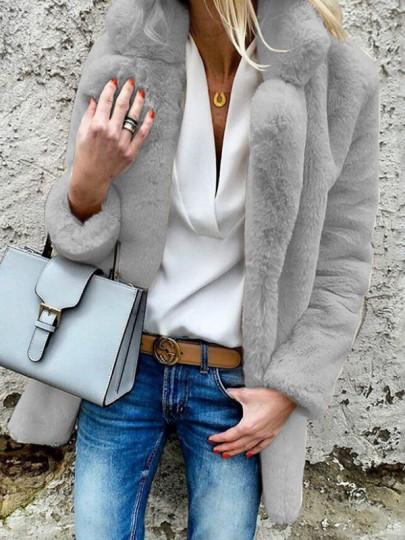 Hellgrau Faux Fur Langarm Warmer Mantel Fellimitat Jacke Kunstfell Pelzmantel Damen Mode