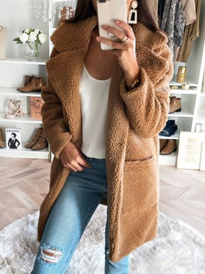 Khaki Pockets Turndown Collar Long Sleeve Oversize Teddy Coat