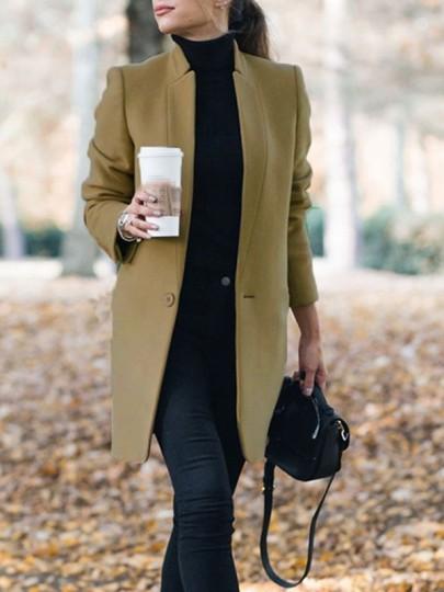 Abrigo bolsillos cuello de banda manga larga elegante blazer de lana caqui