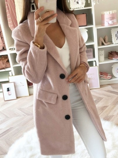 Pastel Pink Pockets Buttons Lapel Collar Long Sleeve Mid-length Elegant Wool Coat