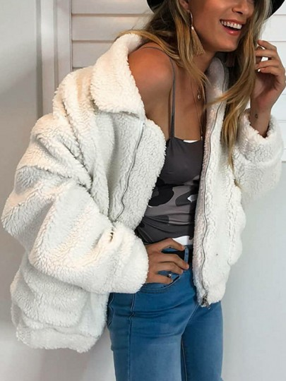 White Patchwork Pockets Zipper Turndown Collar Long Sleeve Fluffy Jacket Thick Outerwear