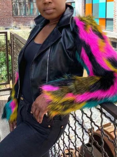 Black Zipper Patchwork Colorful Faux Fur Long Sleeve Turndown Collar PU Leather Jacket Outerwear