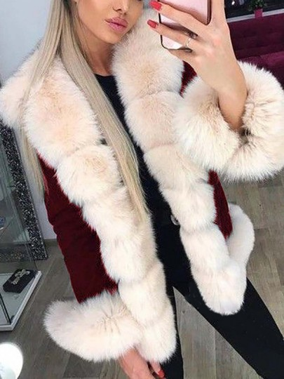 Burgundy Patchwork Faux Fur Fluffy Hooded Long Sleeve Thick Parka Coat Outerwear