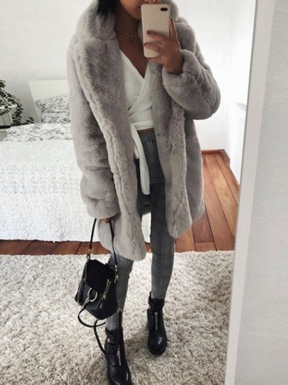 Light Grey Faux Fur Turndown Collar Long Sleeve Elegant Outerwear