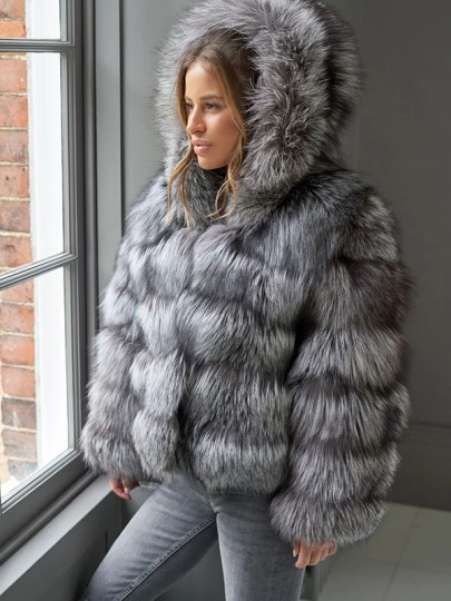 Grey Hooded Long Sleeve Bubble Fox Faux Fur Fluffy Thick Mink Coat Outerwear