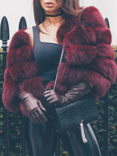 Wine Red Faux Fur Oversized Turndown Collar Long Sleeve Outerwear