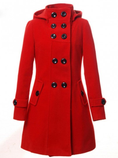 Red Button Double Breasted Pocket Turndown Collar Long Sleeve Elegant Hooded Woolen Coat
