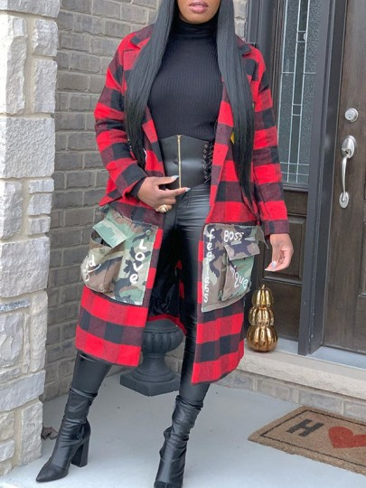 Red-Black Plaid And Letter Print Camouflage Pockets Tailored Collar V-neck Long Sleeve Buffalo Plaid Long Coat