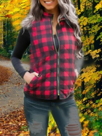Red-Black Plaid Pockets Zipper High Neck Sleeveless Cotton Christmas Vest Outerwear Coat