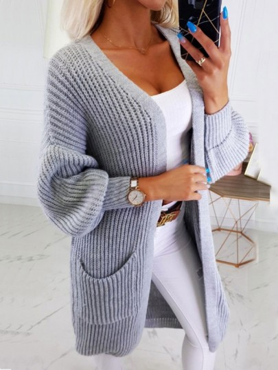 Cardigan poches manches longues mode oversize gris