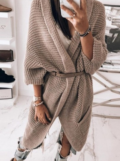 Brown Pocket Loose V-neck Long Sleeve Casual Cardigan Sweater