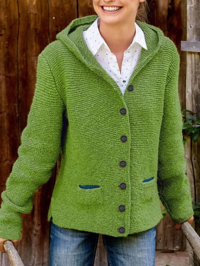Green Pockets Single Breasted Hooded Long Sleeve Fashion Cardigan Sweater