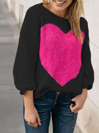 Black Love Thanksgiving Day Clothing Long Sleeve Round Neck Casual Pullover Sweater