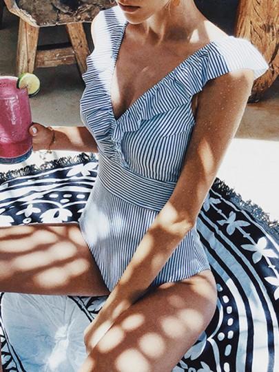 Light Blue Striped Ruffle V-neck Swimsuit Beach Women One-Piece Swimwear Playsuit