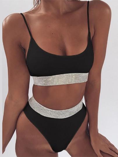 Bikini de sport à ceinture condole noir