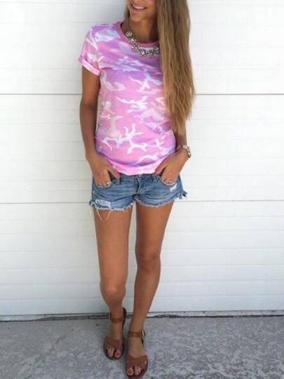 Pink Camouflage Pattern Round Neck Short Sleeve Oversized Casual T-Shirt