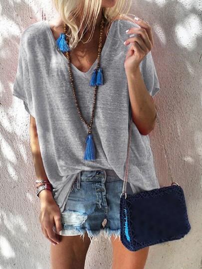 Grau V-Ausschnitt Oversize Ausgefallen T-Shirt Tops Oberteile Damen Mode