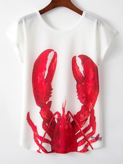 White Lobster Print Rundhals Mode Lässig Neue Mode Neuestes Frauen T-Shirt