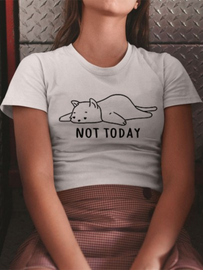 T-shirt chat not today motif manches courtes mode décontracté femme top blanc