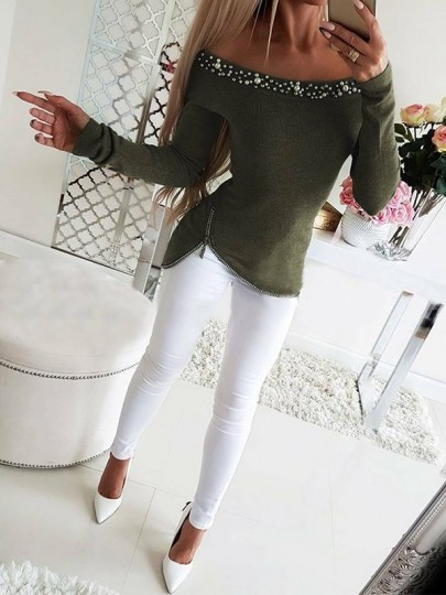 Green Beading Going out Comfy Fashion Boat Neck T-Shirt