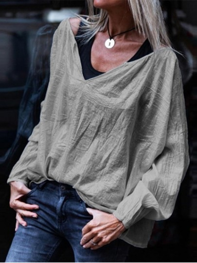 Silver Bodycon Comfy Kimono Cover Up V-neck Fashion T-Shirt