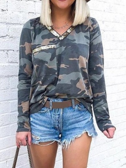 Grey Green Camouflage Patchwork Sequin Pockets V-neck Long Sleeve Casual Camo T-Shirt