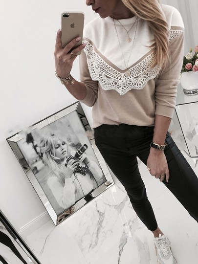 Khaki Patchwork Lace Bodycon Long Sleeve Going out T-Shirt