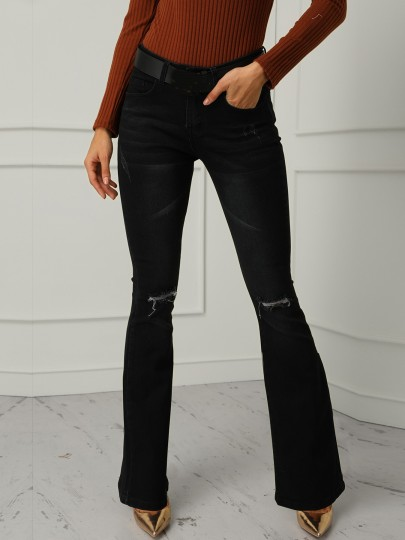 Black Cut Out Distressed Ripped Bell Bottomed Flares Long Jean
